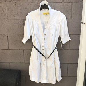 Catherine Malandrino-  white shirt dress w/pockets